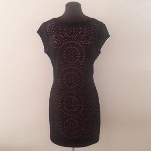 Dex Bodycon Silhouette Black Midi Laser Cut Dress